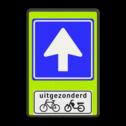 Verkeersbord Eenrichtingsweg uitgezonderd fietsers en bromfietsers Verkeersbord RVV C03 - OB54 - Eenrichtingsweg met uitzondering - fluor achtergrond C03-OB54f C03, Onderbord OB 54 - uitgezonderd (brom)fietsers