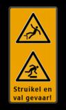 Veiligheidspictogram - Struikelgevaar - W007 -  Pas Op! Val gevaar - W008 + Eigen tekst Fluor geel-groen / zwarte rand, (RAL 9005 - zwart), Waarschuwing valgevaar, Waarschuwing struikelgevaar, Struikel en, val gevaar!