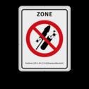 Vuurwerkbord  Zone + txt  Witte rand, Verboden vuurwerk af te steken, VERBODEN, afsteken, Vuurwerk, besluit, zone