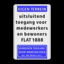 Tekstbord Eigen terrein of privéterrein + 5 vrij invoerbare tekstregels +Verboden toegang Tekstbord 400x600mm et-5txt-vt461 privé terrein, verboden