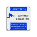 Camerabewaking - Eigen terrein - Art. 461 Wit / blauwe rand, (RAL 5017 - blauw), EIGEN TERREIN (banner), Camerabewaking,   Verboden toegang