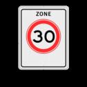 Verkeersbord Zone maximum toegestane snelheid 30 kilometer per uur, geldig tot einde zone. Verkeersbord RVV A01-xxx zb - Begin zone maximum snelheid A01-030zb snelhiedsbord, snelheidbord, 30 km bord, snelheid, zonebord, A1