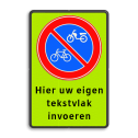 Parkeerverbod Parkeerverbod (brom-)fietsen + tekst Parkeerverbod (brom)fietsers + eigen tekst  parkeerbord, verboden te stallen, parkeerverbod, wegknipregeling, fiets, brommer, E3, fluor, brommer