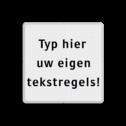 Tekstbord wit/zwart 5 regelig zelf tekstbord maken, tekst invoeren, verkeersbord, onderbord
