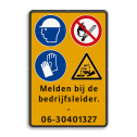 Verkeersbord 4 pictogrammen + 4 txt Fluor geel / zwarte rand, (RAL 9005 - zwart), Veiligheids gehoorbescherming + bril verplicht, Verbod roken en open vuur, Veiligheidshandschoenen verplicht, Waarschuwing bijtende stoffen, Melden bij de, bedrijfsleider., -, 06-30401327