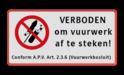 Vuurwerkbord verboden + tekst +artikel Rode rand, Verboden vuurwerk af te steken, VERBODEN, afsteken, Vuurwerk, besluit