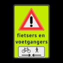 Verkeersbord RVV J37 FLUOR voetgangers + fiets 2 txt Tekstbord, gevaar, J37, voetgangers, fietsers, wandelaars