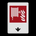 Brandweer - Brandslang - F002 + pijlverwijzing Wit / witte rand, (RAL 9002 - wit), Brandslang, Omlaag