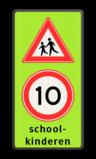 Verkeersbord Schoolkinderen + maximumsnelheid Verkeersbord RVV J21-A1xx-SK2  school, spelende kinderen, matig uw snelheid, overstekende kinderen, J21, 10km