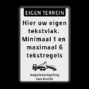 Verkeersbord Eigen terrein + 5 regels eigen tekst + wegsleepregeling OB304 Verkeersbord 400x600mm et-5txt_wsr parkeerbord, logo, verboden toegang, engelse tekst, eigen terrein, parkeerverbod, wegsleepregeling, speciale borden, OB304