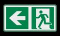 Veiligheidspictogram - Vluchtroute naar links verzamelplaats,