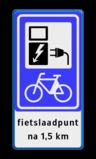 Verkeersbord RVV BW101_SP20 fiets-laadpunt - txt Wit / blauwe rand, (RAL 5017 - blauw), BW101 SP20 - fietslaadpunt, fietslaadpunt, na 1,5 km, oplaadpalen, oplaadbaar, ebike, bike, stalling
