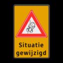 Informatiebord - baby geboren - eigen tekst  Fluor geel / zwarte rand, (RAL 9005 - zwart), Baby, Situatie, gewijzigd