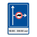 Verkeersbord RVV L10-02r + ondertekst L10 kruising rechts beperkt, (RAL 5017 - blauw), C07, , 18:00 - 08:00 uur