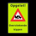 Verkeersbord - Opgelet! Overstekende kippen cadeau, kado, Fluor geel-groen / zwarte rand, (RAL 9005 - zwart), Eigen tekst, Overstekende kippen, Overstekende, kippen