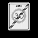 Verkeersbord Einde zone maximum toegestane snelheid 30 kilometer per uur. Verkeersbord RVV A02-xxx zbe - Einde zone maximum snelheid A02-030ze snelhiedsbord, snelheidbord, 30 km bord, snelheid, zonebord, einde, a2