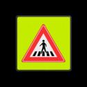 Verkeersbord Oversteekplaats ~ FLUOR achtergrond Verkeersbord RVV J22f J21, spelende kinderen, UV,