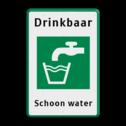 Verkeersbord ARD  Wit / groene rand, (RAL 6024 - groen), Drinkbaar, Drinkwater, Schoon water