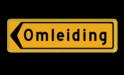 Tekstbord - T102l - Omleiding - Werk in uitvoering Fluor geel / gele rand, (RAL 1023 - geel), Hier uw eigen, tekstregels, Klik op bewerk >, en pas de , tekst aan!