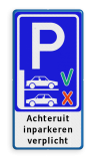 Parkeerbord - achteruit inparkeren verplicht Wit / blauwe rand, (RAL 5017 - blauw), Exx_achteruit parkeren, Achteruit, inparkeren, verplicht