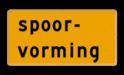 Tekstbord - OB605t - spoorvorming - Werk in uitvoering Fluor geel / gele rand, (RAL 1023 - geel), Hier uw eigen, tekstregels, klik op bewerken >