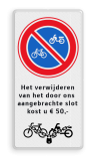 Parkeerbord RVV E03 + eigen tekst en 'op slot'  Wit / witte rand, (RAL 9016 - wit), E04, Busses & , minivan only!,  Wegsleepregeling, busjes, bestelbus, bestelauto
