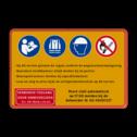 Informatiebord PBM 4 pictogrammen + eigen tekst Geel / rode rand, (RAL 3020 - rood), Instructie lezen verplicht, Veiligheidsvest verplicht, Veiligheidshelm dragen verplicht, Verboden roken en open vuur, - Op dit terrein geleden de regels conform de wegenverkeerswetgeving., - Bezoekers hoofdkantoor altijd melden bij de portier., - Bezorgend verkeer melden bij expeditiekantoor., - Lees en volg te allen tijde de veiligheidsinstructies op dit terrein.,   Verboden toegang, Poort sluit automatisch, na 17:00 melden bij de, beheerder M. 06-30401327