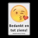 Informtiebord Emoji met eigen tekst Wit / grijze rand, (RAL 7042 - grijs), Emoji-kus-hartje, Bedankt en, tot ziens!, Kaasboerderij Cheesy