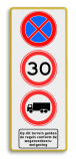 Verkeersbord  400x1000mm E02-A01-C07 Wit / gele rand, (RAL 1023 - geel), E02, A01-30, C07, Op dit terrein