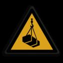 Veiligheidspictogram Waarschuwing hangende-lasten Veiligheidspictogram - Hangende Last - W015 lastig, last, hangend