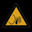Veiligheidspictogram Waarschuwing harde-geluiden Veiligheidspictogram - Harde geluiden - W038 harde, geluiden, hard