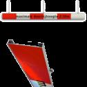 Portaalligger 200mm C profiel rood/wit + tekst parkeergarage, doorrijhoogte portaal, hoogtebalk
