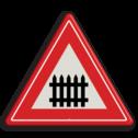 Verkeersbord U nadert een bewaakte overweg Verkeersbord RVV J10 - Vooraanduiding overweg met slagbomen J10 spoorwegen, spoorwegovergang, overgang, overweg, trein, treinen, let op, pas op, J10