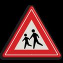 Verkeersbord Overstekende (spelende) kinderen Verkeersbord RVV J21 - Vooraanduiding overstekende kinderen J21 let op, pas op, speldende kinderen, J21