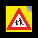 Kliko RVV J21 / spelende kinderen Kliko sticker RVVJ21 35x35 cm + gele achtergrond school, spelende kinderen, matig uw snelheid, overstekende kinderen, J21