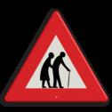 Verkeersbord Overstekende ouderen Verkeersbord RVV J21-ouderen let op, pas op, speldende ouderen, J21, elderly people, elderly people, bejaarden, oudjes, echtpaar, bejaardencentrum