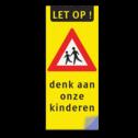 Kliko LET OP ! + spelende kinderen + denk aan onze kinderen Kliko sticker RVVJ21 35x80 cm + tekst school, spelende kinderen, matig uw snelheid, overstekende kinderen, J21