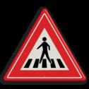 Verkeersbord Voetgangersoversteekplaats met een zebrapad Verkeersbord RVV J22 - Vooraanduiding voetgangers-oversteekplaats J22 let op, pas op, oversteken, oversteekplaats, zebrapad, voetganger, J22