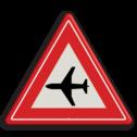 Verkeersbord Vooraanduiding laagvliegende vliegtuigen Verkeersbord RVV J30 - Vooraanduiding laagvliegende vliegtuigen J30 let op, pas op, vliegverkeer, vliegveld, J30