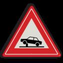 Verkeersbord Waarschuwing voor elektrische in- en uitschuifbare paal in de rijbaan (poller) waarmee toegankelijkheid van straten en gebieden kan worden geregeld Verkeersbord RVV J39 - Vooraanduiding verkeerspaal J39 poller, rampaal, hydraulische, obstakel, elektrische paal,