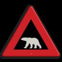 Verkeersbord Overstekende ijsbeer Verkeersbord NOORWEGEN polarbear pas op, ijsbeer, ijsberen