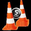 Afzetkegel/pylon 750mm - set van 5 stuks - oranje/wit pion, pionnen, kegels, pilon, oranje, hoedje