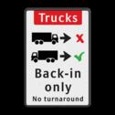 Informatiebord - vrachtwagens achteruit inrijden trucks, engels