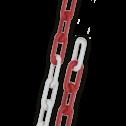 Ketting verzinkt STAAL 6mm in rood/wit | 10 meter lang kettinpaal, parkeerpaal, sperringspaal, versperring, parkeerterrein