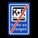 Informatiebord Einde zone voor parkeergelegenheid ten behoeve van het afzetten van iemand, Het zogenaamde zoen en zoef verkeersbord Informatiebord KISS & RIDE - EINDE - halen en brengen parkeerplaats, parkeerplek, kiss, ride , overstapplaats, overstappen, E12, zoen en zoef, p r, p+r, k r , k+r
