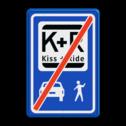Informatiebord KISS & RIDE - EINDE - pictogrammen parkeerplaats, parkeerplek, kiss, ride , overstapplaats, overstappen, E12, zoen en zoef, p r, p+r, k r , k+r