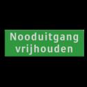 Veligheidsbord ARV 300x100mm groen/wit 2 regels tekst nooduitgang, veiligheidsbord