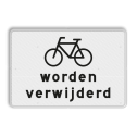 Verkeersbord Onderbord - Fietsen worden verwijderd Verkeersbord RVV OB305 - Onderbord - Fietsen worden verwijderd OB305 fiets, geen stalling, wit bord, fietsen worden verwijderd, OB305