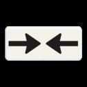 Verkeersbord Onderbord - Gevaar van 2 richtingen Verkeersbord RVV OB503 - Onderbord - Gevaar van 2 richtingen OB503 pijlen, rechts en links, wit bord, OB503