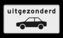 Verkeersbord Onderbord - Uitgezonderd auto's Verkeersbord RVV OB59 - Onderbord - Uitgezonderd auto's OB59 wit bord, uitgezonderd auto's, OB59